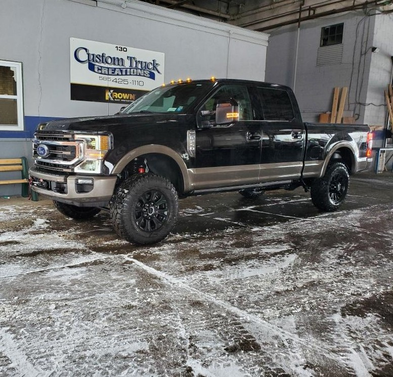 Ford King Ranch Tremor package got a leveling kit installed, salt wash, and sprayed with Krown undercoating.
