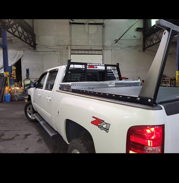 Chevy Silverado with Custom Backrack, Toolbox, Tonneau Cover, Ladder Rack