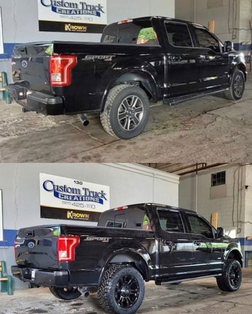 2017 Ford F150 before and after with a 3in lift and wheel & tire package