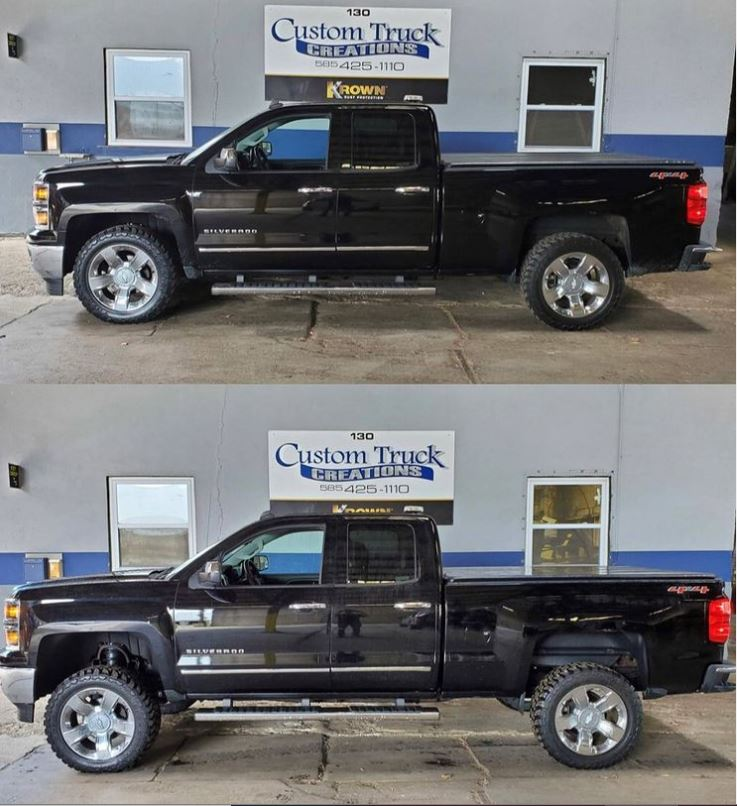 2014 Chevy Silverado before & after with a 5in Rough Country Lift