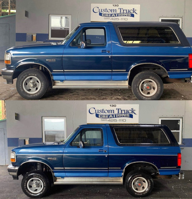 1992 Ford Bronco with new dual front shock & 4in Rough Country Lift